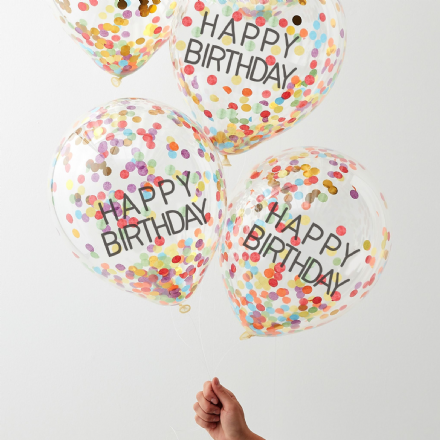 "Rainbow ""Happy Birthday"" Confetti Balloons"